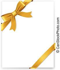 oro, baluginante, fondo, raso bianco, nastro