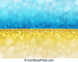oro, bokeh, lights., astratto, blu