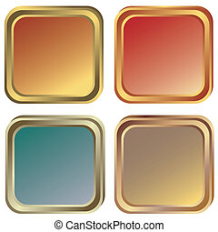 oro, bronzo, (vector), cornici, set, argento