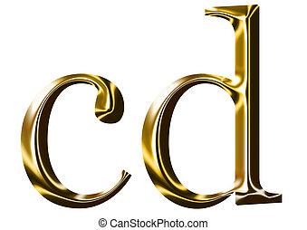 oro, c, d, alfabeto, simbolo
