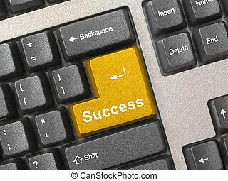 oro, -, chiave, computer, successo, tastiera