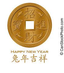 oro, cinese, coniglio, anno, nuovo, moneta, 2011, felice