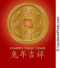 oro, cinese, coniglio, anno, nuovo, moneta, 2011, rosso, felice