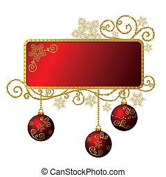 oro, &, cornice, isolato, natale, rosso