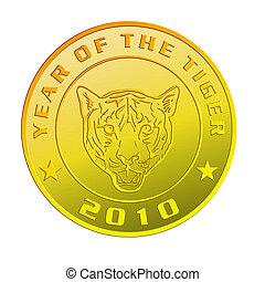 oro, esposizione, tiger, anno, nuovo, moneta, 2010