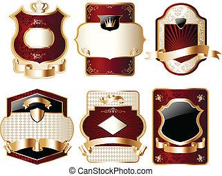 oro, etichetta, capriccio, set