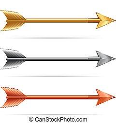 oro, &, frecce, -, tre, argento, bronzo