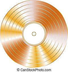 oro, isolato, disco, vettore, vinile, fondo, bianco