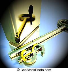 oro, lucchetto, bancario, esposizione, dollaro, interpretazione, risparmi, chiave, 3d