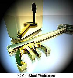 oro, lucchetto, bancario, esposizione, interpretazione, risparmi, chiave, euro, 3d
