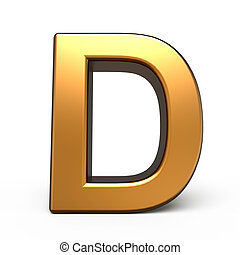 oro, metallina, d, lettera, 3d