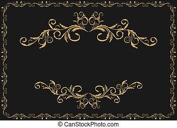 oro, modello, ornamento, illustrazione, lusso, profili di fodera