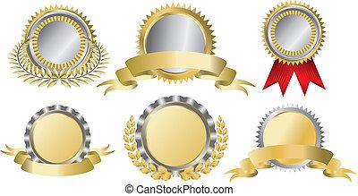 oro, nastri premio, argento