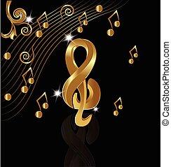 oro, note, musicale, fondo