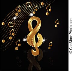 oro, note, musicale, render