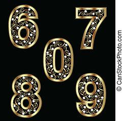 oro, numeri, ornamenti, swirly