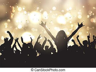 oro, persone, 0810, luci, bokeh, fondo, festa