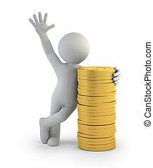 oro, persone, monete, -, piccolo, 3d
