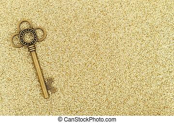 oro, scheletro, fondo, chiavi, scintilla