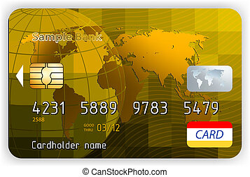 oro, vie, credito, vettore, fronte, cartelle