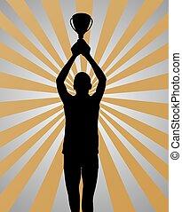 oro, vincitore, giovane, fondo, sport, argento