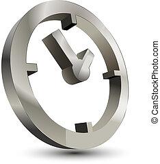 orologio, 3d, icona, tempo