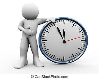 orologio, 3d, uomo