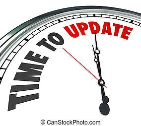 orologio, aggiornamento, miglioramento, rinnovare, parole, tempo