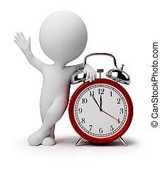 orologio, allarme, persone, -, piccolo, 3d