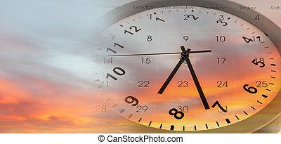 orologio, calendario, cielo