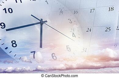 orologio, cielo, calendario