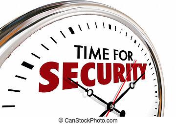 orologio, illustrazione, sicurezza protezione, tempo, sicurezza, 3d
