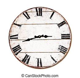 orologio, isolato, fondo, tempo, bianco, pasto