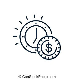 orologio, linea, icona, stile, moneta, soldi