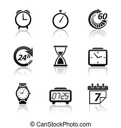 orologio, set, icone tempo