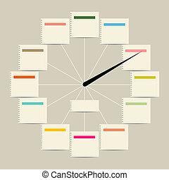 orologio, testo, creativo, disegno, adesivi, tuo