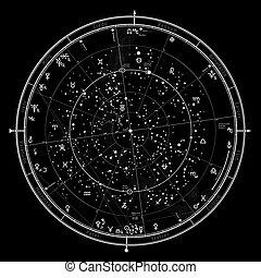 oroscopo, astrologico, '2020., generale, celestiale, settentrionale, hemisphere., globale, mappa, universale