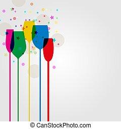 orpello, colorato, cocktail, silhouette, festa, occhiali