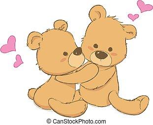 orsi, carino, due, abbracciare, teddy