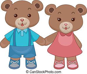 orsi, teddy, giocattolo, tenere mani