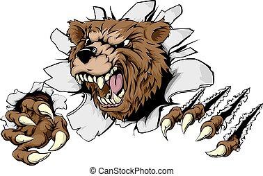 orso, attraverso, fendere, fondo