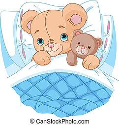orso bambino, carino, letto