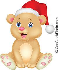 orso, bambino, carino, seduta, cartone animato