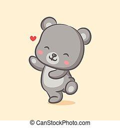 orso, lei, faccia, amore, ballo, pieno