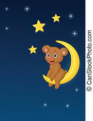 orso, mo, bambino sedendo, cartone animato