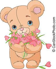 orso teddy, mazzolino, cuori, dare