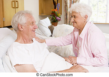 ospedale, coppia, anziano, insieme, seduta