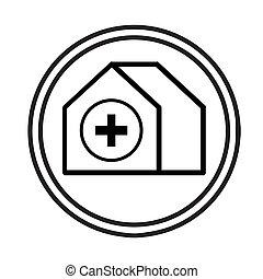 ospedale, vettore, simbolo, costruzione