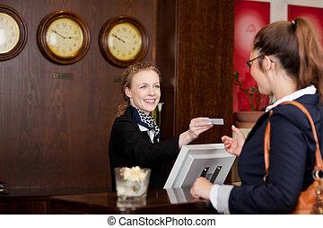 ospite hotel, scheda, richiedere