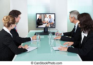 osservare, presentazione, businesspeople, linea